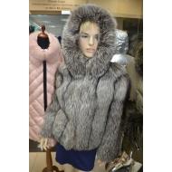 Куртка из меха чернобурки с капюшоном А065/КАП