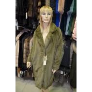 Итальянское пальто из эко меха, Barbara Alvisi, арт.,  OVER23 100//OLIVA