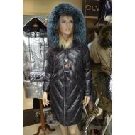 Зимний пуховик, капюшон отделан натуральным мехом лисицы Par ten 5761/ AZZURRO FOX