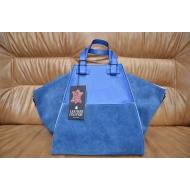 Итальянская сумка из замши и кожи LEATHER COUNTRU арт., BLU-334