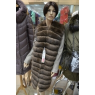 Пальто из кашемира, отделано натуральным мехом песца тонированным под соболь.
