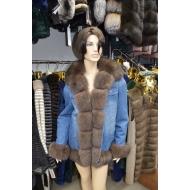 Утепленная джинсовая куртка отделана мехом песца арт., GN-1798