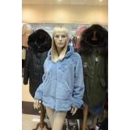 Итальянская куртка из эко меха с капюшоном, Barbara Alvisi, арт., OVER75/AZZURRO