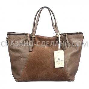 Комбенированная итальянская сумка из натуральной кожи и замши Marina Gray