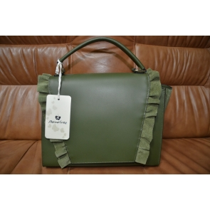 Итальянская кожанная сумка с элементами, натуральной замши Marina Grey