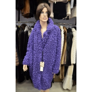 Итальянское пальто из эко меха, Barbara Alvisi, арт., OVER23 AFRO100/MIRTILLO